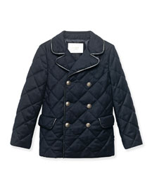 Quilted Leather-Trim Double-Breasted Coat, Navy, Size 4-12
