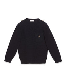 Wool V-Neck Pullover Sweater, Navy, Size 6-12