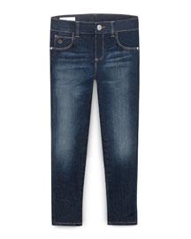 Faded Skinny Jeans, Indigo, Size 4-12