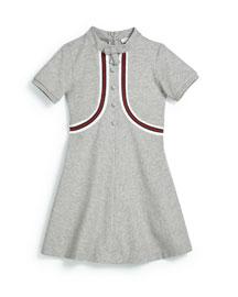 Short-Sleeve Pique Web-Trim Dress, Light Gray, Size 4-12