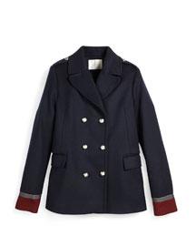 Caban Wool-Blend Military Jacket, Blue, Size 6-12