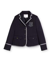 Contrast-Trim Prep School Jacket, Blue, Size 6-12
