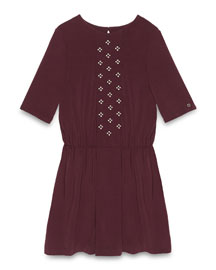 Short-Sleeve Floral-Rhinestone Dress, Amethyst, Size 6-12
