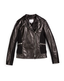 Leather Moto Jacket, Black, Size 10-12
