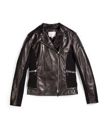 Leather Moto Jacket, Black, Size 10-12