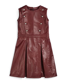 Sleeveless Pleated Leather Dress, Red, Size 6-12