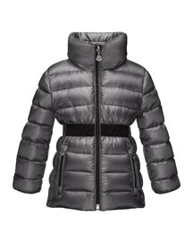 Talcy Turtleneck Down Puffer Coat, Charcoal, Size 8-14