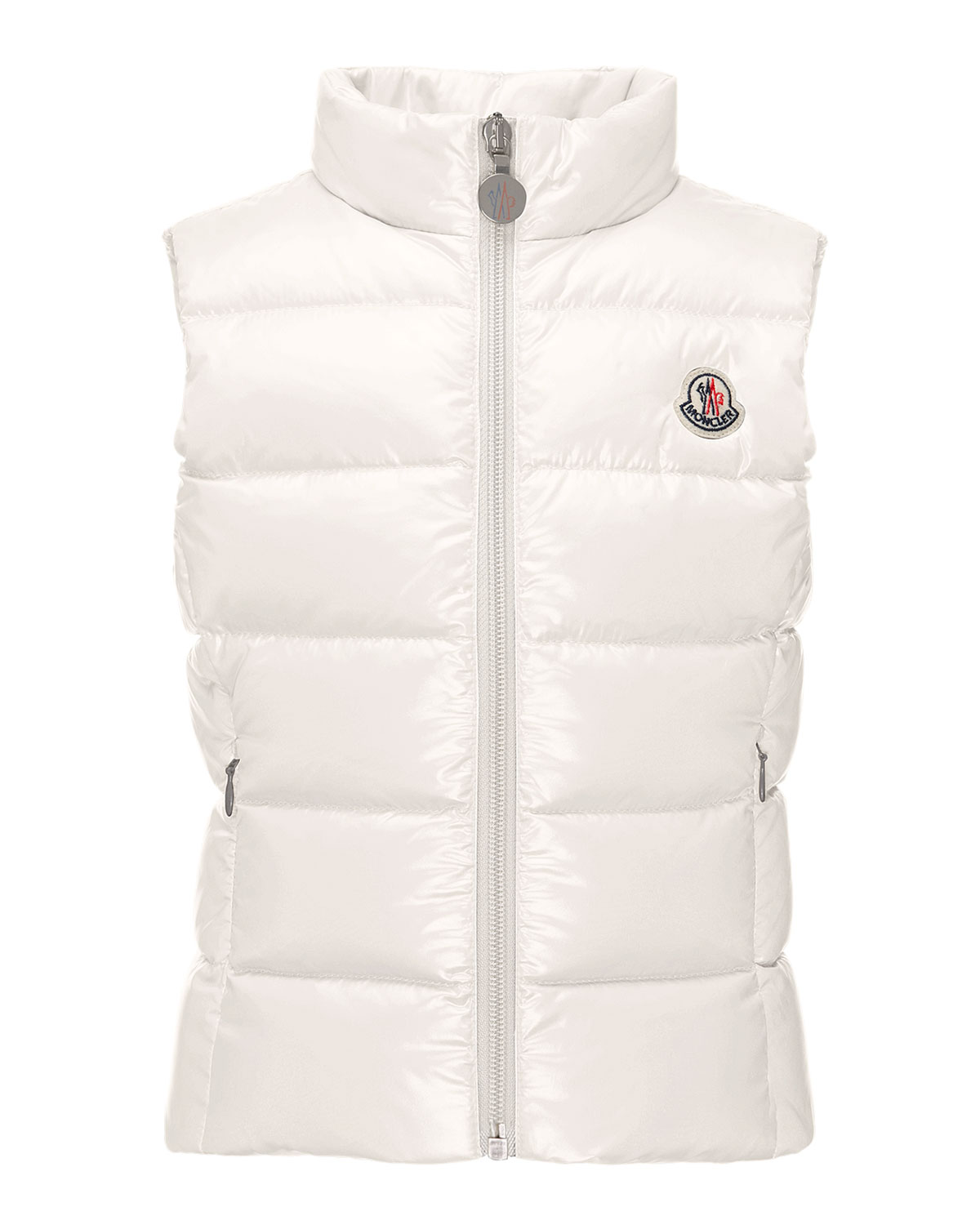 Moncler Ghany Quilted Down Vest, Cream, Size 4-6, Girl's, Size: 6, Natural