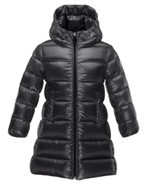 Suyen Hooded Down Puffer Coat, Black, Size 8-14
