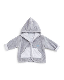 Hooded Dynamic Dinos Reversible Velour Jacket, Gray, Size 0-18 Months