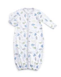 Dynamic Dinos Convertible Pima Sleep Gown, White/Light Blue, Size Newborn-Small