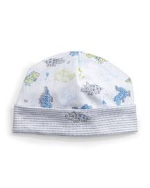 Dynamic Dinos Pima Baby Hat, White/Blue