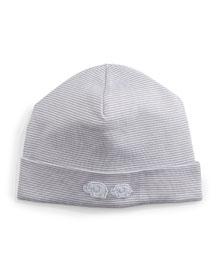 Baby Elephants Striped Pima Hat, Gray/White