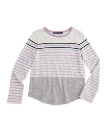 Long-Sleeve Striped Colorblock Tee, Cloud, Size 2-6
