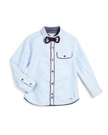 Contrast-Trim Cotton Button-Front Shirt, Bleach, Size 4-12