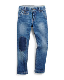 Patched Slim-Fit Denim Jeans, Blue, Size 4-12