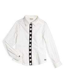 Long-Sleeve Poplin Shirt w/ Contrast Placket, White, Size 6Y-10Y