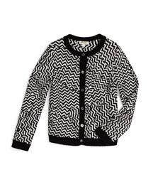 Long-Sleeve Chevron-Print Cardigan, Black/White, Size 6Y-10Y