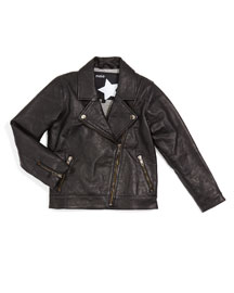 Hyacinth Leather Zip-Trim Biker Jacket, Black, Size 4-14