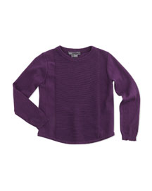 Cotton Rack-Stitched Pullover Sweater, Purple, Size 2-6