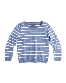 Striped Vintage Pullover Sweater, Blue/White, Size 2-7