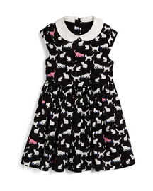 kimberly sleeveless sateen cat-print dress, black/white, size 2-6