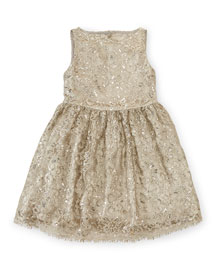 Sleeveless Lace A-Line Party Dress, Platinum, Size 2T-6X
