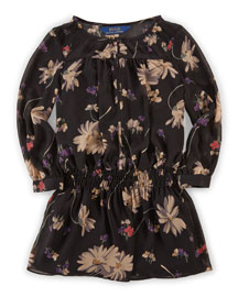 Long-Sleeve Floral Chiffon Dress, Black, Size 2T-6X