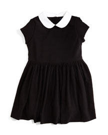 Rugby Contrast-Collar Smocked Jersey Dress, Black, Size 2T-6X