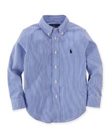 Striped Custom-Fit Sport Shirt, Size 2-7