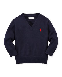 Cotton V-Neck Pullover Sweater, Size 3-24 Months