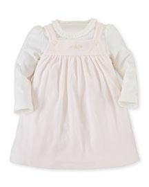 Pima Velour Jumper & Bodysuit, Pink/White, Size 9-24 Months