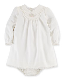 Twill Ruffle-Trim Shift Dress & Bloomers, White, Size 9-24 Months