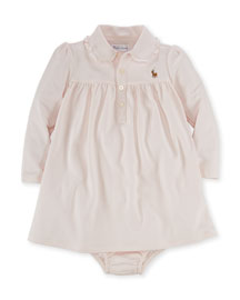 Pima Polo Dress & Bloomers, Pink, Size 9-24 Months