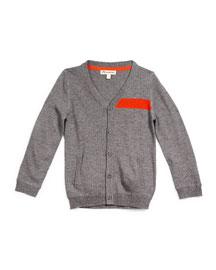 Contrast-Trim Wool V-Neck Cardigan, Gray, Size 4T-14