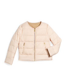 Reversible Zip-Front Puffer Jacket, Pale Pink, Size 4-10