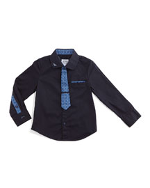 Tie-Illusion Poplin Shirt, Indigo, Size 2-8