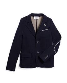 Contrast-Trim Knit Two-Button Blazer, Navy, Size 10-14