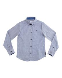 Woven Button-Front Shirt, Light Blue, Size 10-14