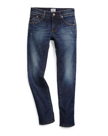 Faded Slim-Fit Denim Jeans, Medium Blue, Size 10-14