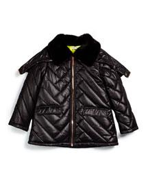 Faux-Fur-Trim Puffer Coat, Black, Size 6Y-10Y