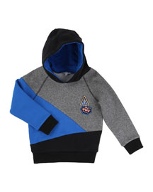 Hooded Colorblock Pullover Sweater, Blue/Gray, Size 4-10