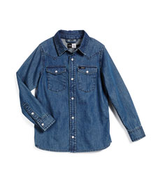 Riff Long-Sleeve Denim Shirt, Blue, Size 3-14