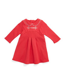 Milano-Fabric Pleated A-Line Dress, Pink, Size 12M-3