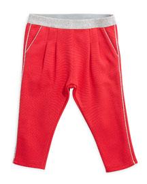 Metallic-Trim Knit Leggings, Pink, Size 12M-3