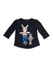 Long-Sleeve Circus Animal Jersey Tee, Navy, Size 12M-3