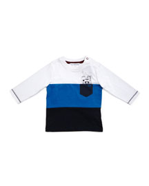 Spaceman Colorblock Jersey Tee, Blue/White, Size 12M-3