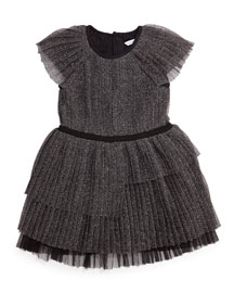 Pleated Metallic Tulle Party Dress, Black, Size 4-12
