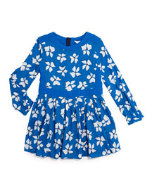 Long-Sleeve Floral-Print Dress, Blue, Size 4-12