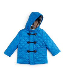 Boris Quilted Duffle Coat, Cerulean Blue, Size 3M-3Y